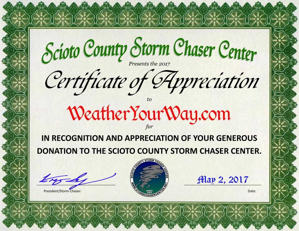 Weather Your Way Certificate of Appreciation